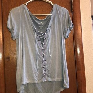 American Eagle lace-up tee